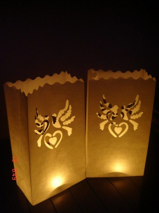 Candlebags Heart & Doves Hart & Duifjes10st