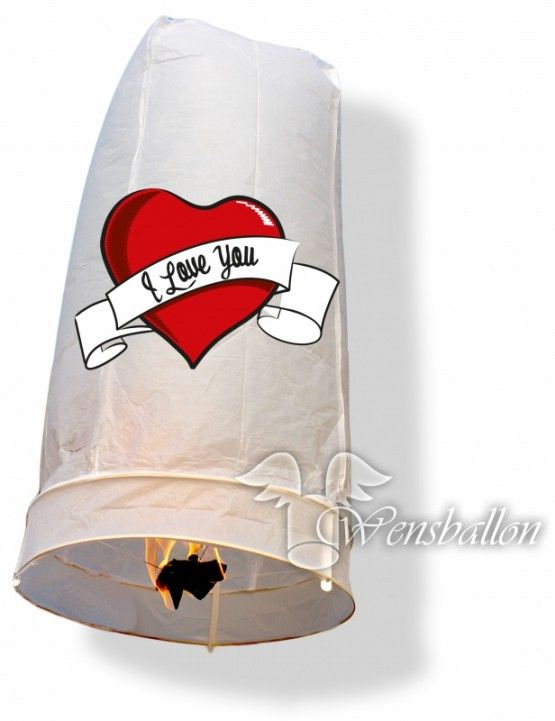 Wensballon geluksballon XL I love You (50x100cm)