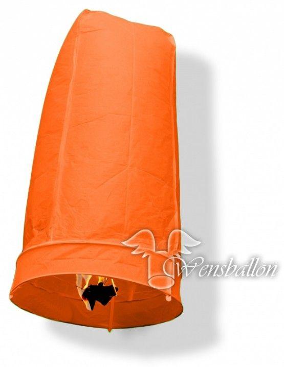 Wensballon geluksballon XL Oranje cilinder (50x100cm)